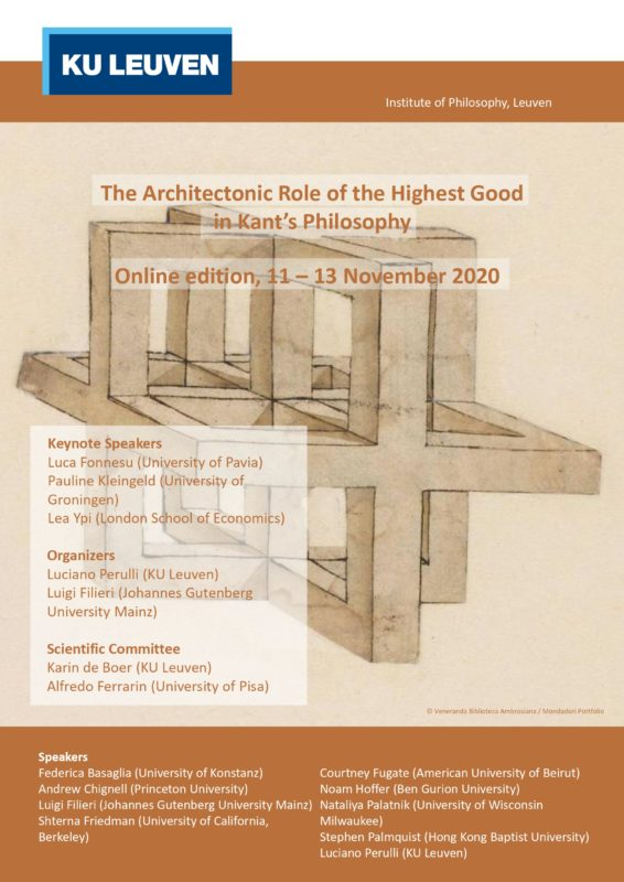 """Conference: """"The Architectonic Role of the Highest Good in Kant's Philosophy"""" (Online Edition, KU Leuven, 11-13 November 2020)"""