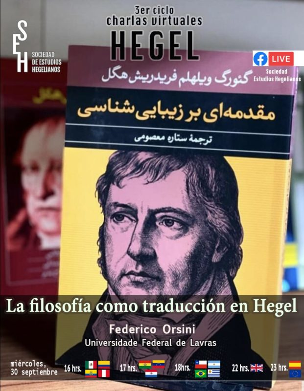 """Online Talk: Federico Orsini, """"La filosofia como traducción en Hegel"""" (Sociedad de Estudios Hegelianos, 30 September, 2020)"""