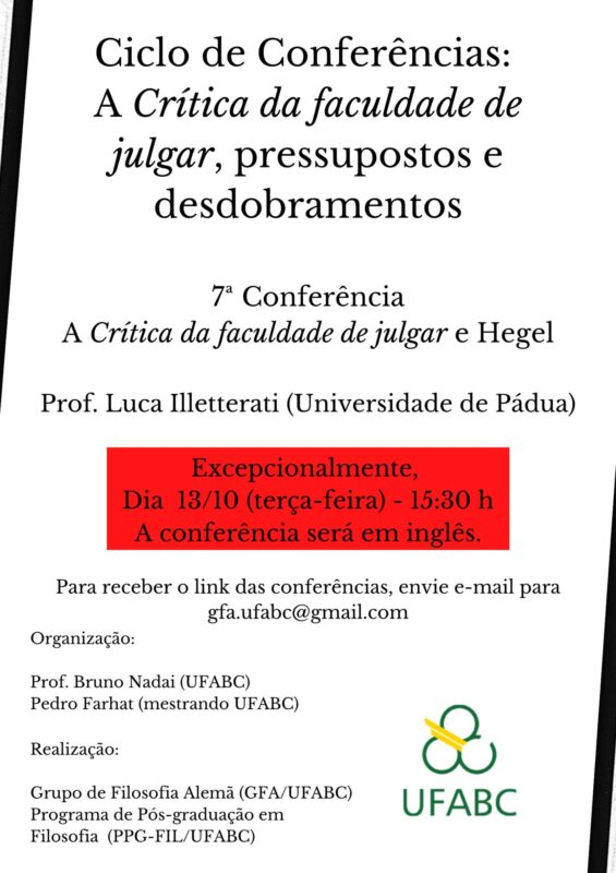 "Online Talk: Luca Illetterati, ""The Critique of the power of judgement and Hegel"" (German Philosophy Study Group (GFA/UFABC), 13 October 2020)"