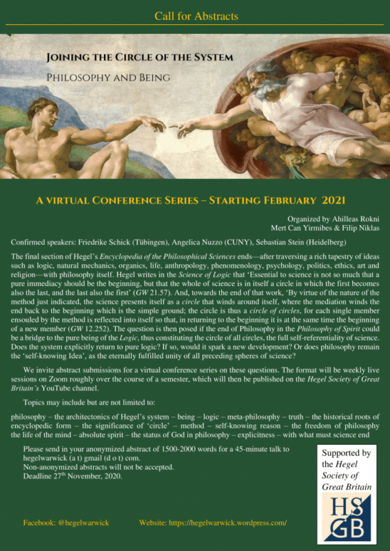 "CFP: Virtual Conference Series ""Joining the circle of the System. Philosophy and Being"" (Warwick, 2021)"