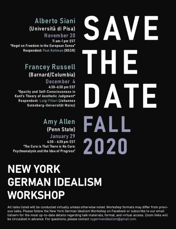 Workshop: New York German Idealism