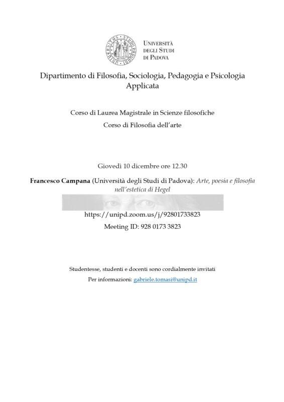 """Lecture: Francesco Campana, """"Arte, poesia e filosofia nell'estetica di Hegel"""" (Padova, 10 december 2020)"""