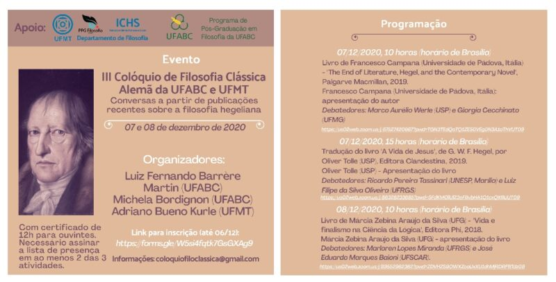 Workshop: III Colloquium on Classical German Philosophy of UFABC and UFMT: Conversations from recent publications on Hegelian philosophy