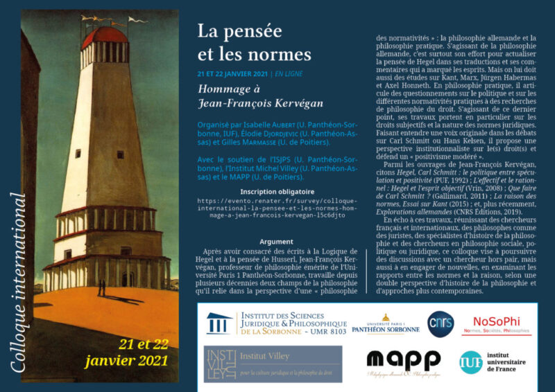 "International Workshop: ""La pensée et les normes. Hommage à Jean-François Kervégan"" (21-22 January 2021)"