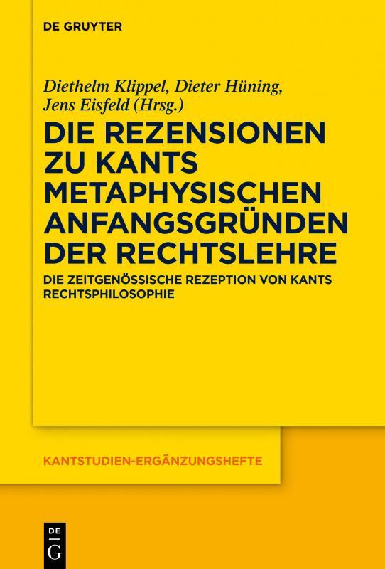 New Release: Die Rezensionen zu Kants Metaphysischen Anfangsgründen der Rechtslehre