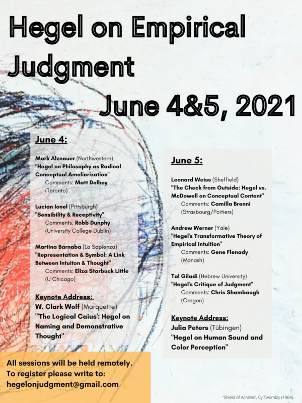 CONFERENCE: Hegel on Empirical Judgment (Chicago, 4-5 June 2021)