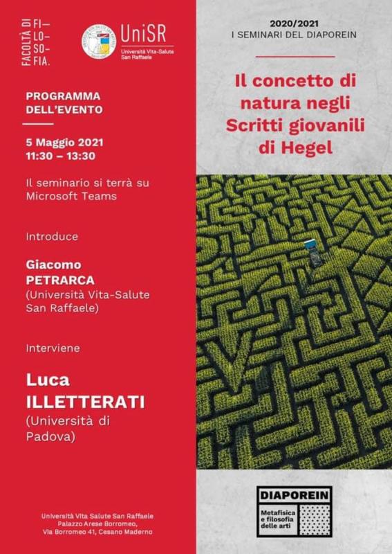 """I SEMINARI DEL DIAPOREIN: Luca Illetterati: """"Il concetto di natura negli Scritti giovanili di Hegel"""" (5 maggio 2021, 11:30-13:30)"""