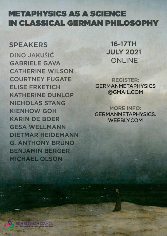 ONLINE CONFERENCE: Metaphysics as a Science in Classical German Philosophy (16-17 June 2021)