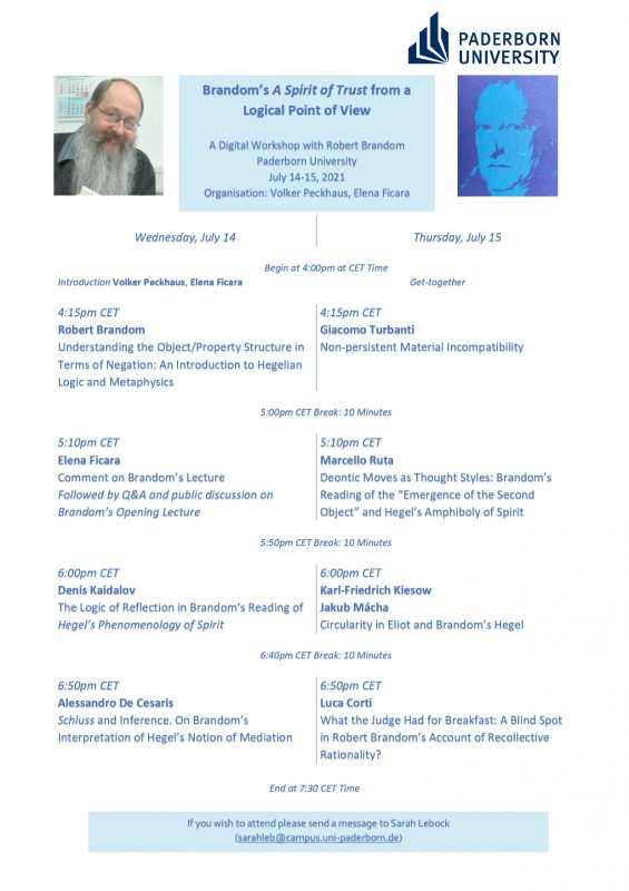 """DIGITAL WORKSHOP: """"Brandom's 'A Spirit of Trust' from a Logical Point of View (14-15 July 2021)"""