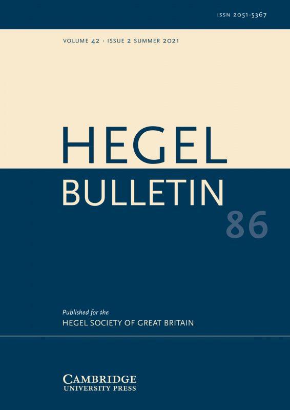 New Release: Hegel Bulletin (Vol. 42, Issue 2, August 2021)