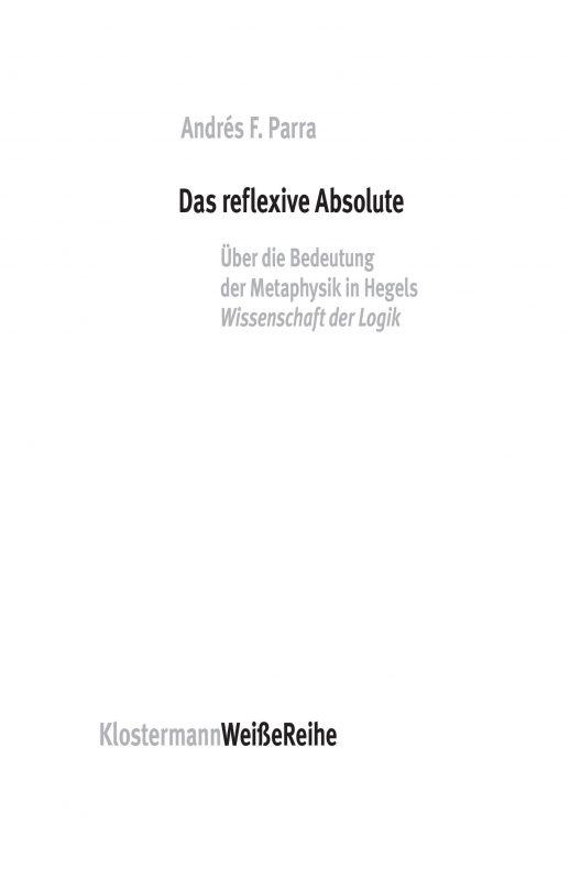 "New Release: Andrés F. Parra,""Das reflexive Absolute"" (Klostermann, 2021)"