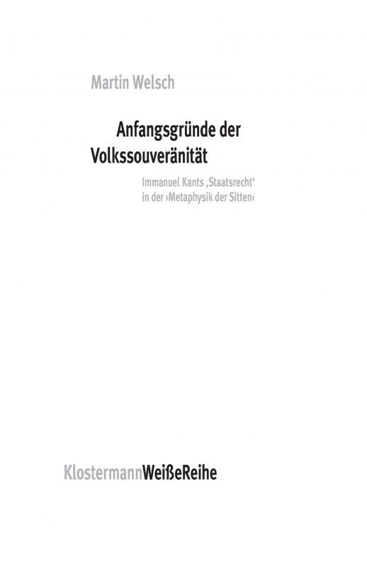 """New Release: Martin Welsch,""""Anfangsgründe der Volkssouveränität"""" (Klostermann, 2021)"""