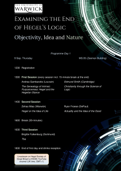 """Conference: """"Examining the End of Logic. Objectivity, Idea and Nature"""" (Warwick, 9-11 September, 2021)"""