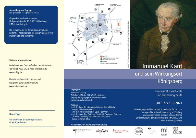 "Conference: ""Immanuel Kant und sein Wirkungsort Königsberg"" (Lüneburg, 30 September-2 October, 2021)"