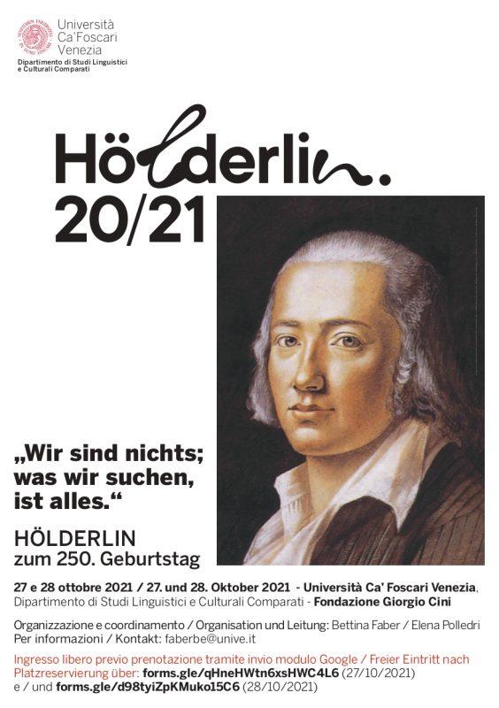 """Event: """"Wir sind nichts; was wir suchen, ist alles."""" HÖLDERLIN zum 250. Geburtstag (Venice, 27-28 October 2021)"""