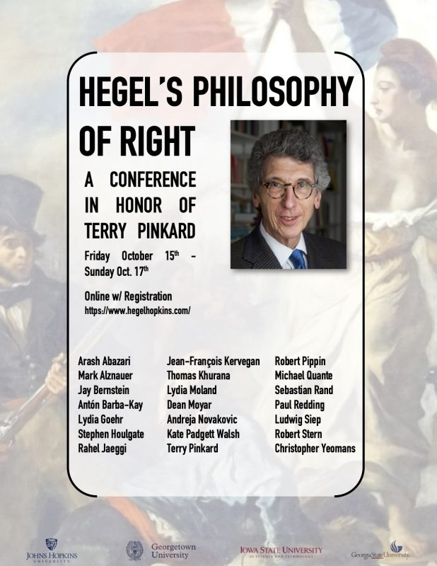 Hegel's Philosophy of Right: A Conference in Honor of Terry Pinkard (15-17 October online w/registration)