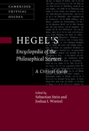 "New Release: Sebastian Stein, Joshua Wretzel (eds.), ""Hegel's Encyclopedia of the Philosophical Sciences. A Critical Guide"" (Cambridge University Press, 2021)"